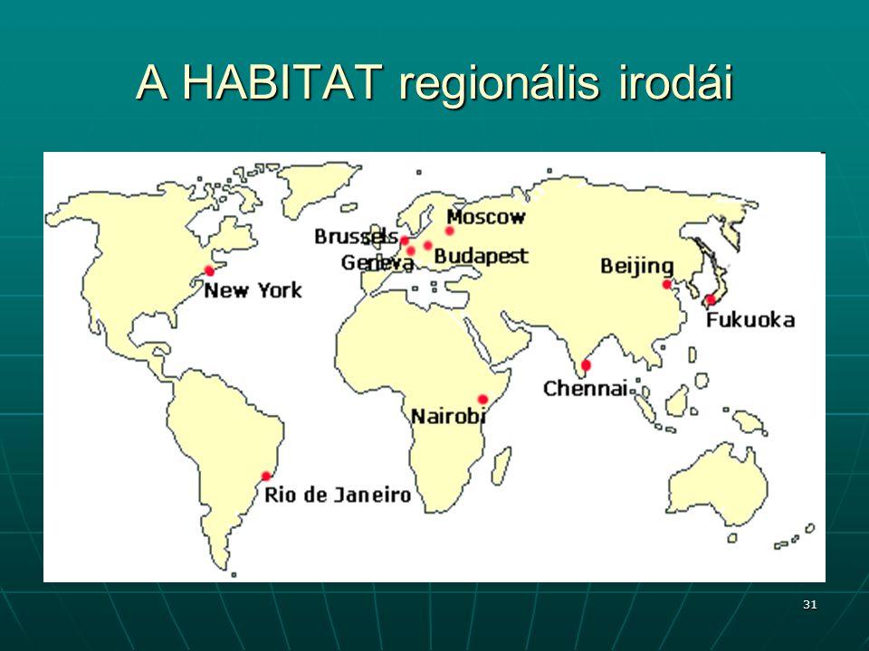 31 A HABITAT regionális irodái