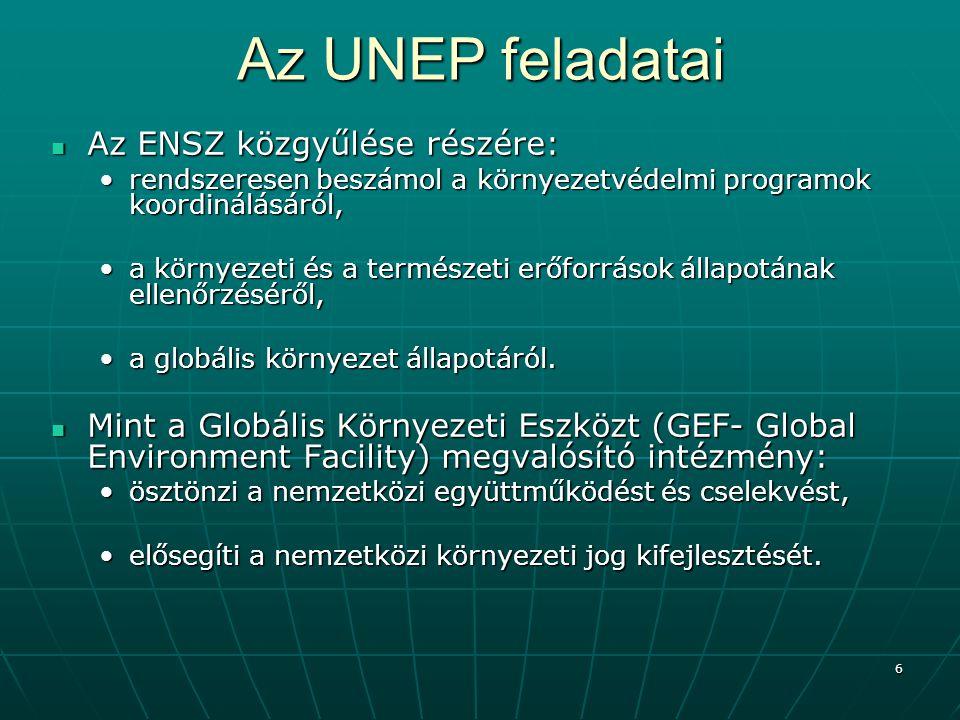 7 Az UNEP feladatai A környezet és a természeti erőforrások védelme, A környezet és a természeti erőforrások védelme, ennek érdekébenennek érdekében ösztönzi az elfogadott nemzetközi normák és előírások megvalósítását, ösztönzi az elfogadott nemzetközi normák és előírások megvalósítását, előmozdítja a közös cselekvést a környezeti kihívásokra.