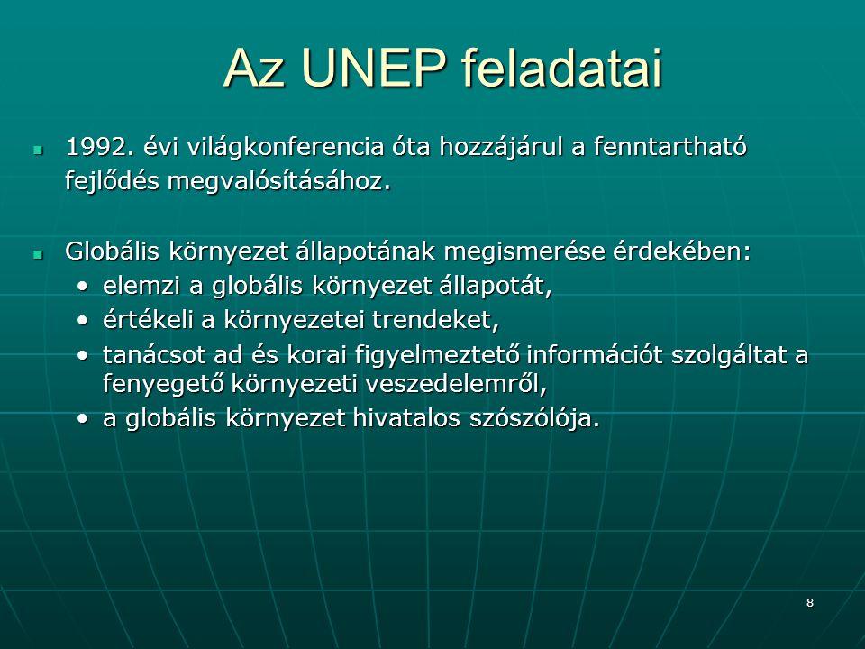 19 Az UNDP küldetése erőforrásait a fenntartható emberi fejlődésre, elsősorban az alábbi központi célokra összpontosítja: erőforrásait a fenntartható emberi fejlődésre, elsősorban az alábbi központi célokra összpontosítja: a szegénység megszüntetése,a szegénység megszüntetése, a környezet regenerálása,a környezet regenerálása, munkahelyteremtés,munkahelyteremtés, a nők előrehaladása,a nők előrehaladása, a nemzetközi együttműködés erősítése a fenntartható emberi fejlődés érdekében.a nemzetközi együttműködés erősítése a fenntartható emberi fejlődés érdekében.