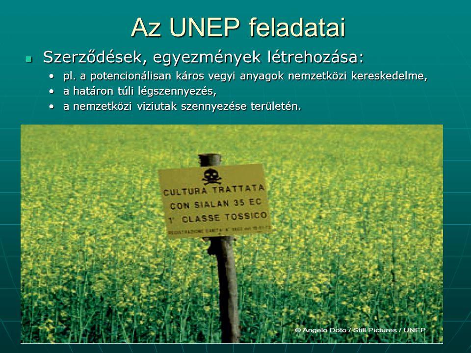 9 Az UNEP feladatai Szerződések, egyezmények létrehozása: Szerződések, egyezmények létrehozása: pl. a potencionálisan káros vegyi anyagok nemzetközi k