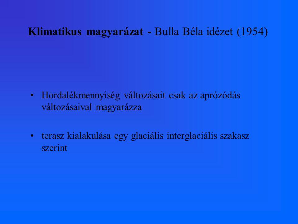 Klimatikus magyarázat - Bulla Béla idézet (1954) Hordalékmennyiség változásait csak az aprózódás változásaival magyarázza terasz kialakulása egy glaciális interglaciális szakasz szerint