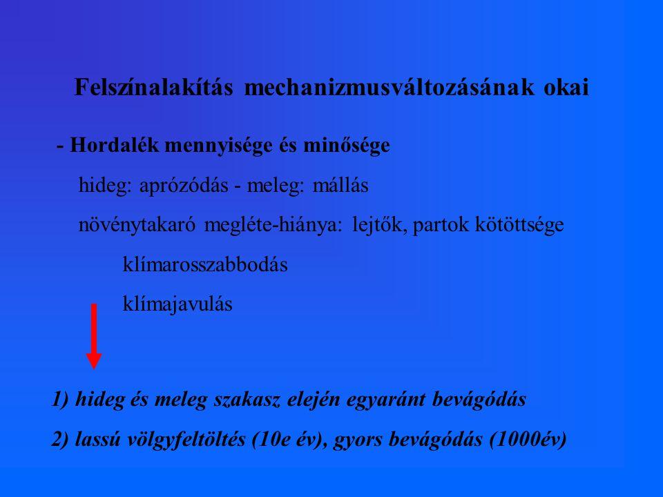 Felszínalakítás mechanizmusváltozásának okai - Hordalék mennyisége és minősége hideg: aprózódás - meleg: mállás növénytakaró megléte-hiánya: lejtők, p