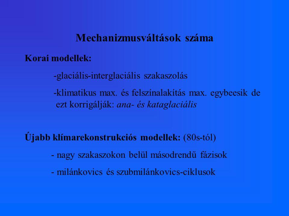 Mechanizmusváltások száma Korai modellek: -glaciális-interglaciális szakaszolás -klimatikus max.