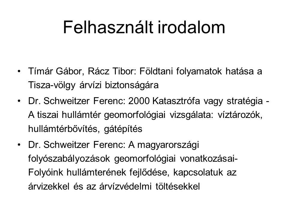 Felhasznált irodalom Tímár Gábor, Rácz Tibor: Földtani folyamatok hatása a Tisza-völgy árvízi biztonságára Dr. Schweitzer Ferenc: 2000 Katasztrófa vag