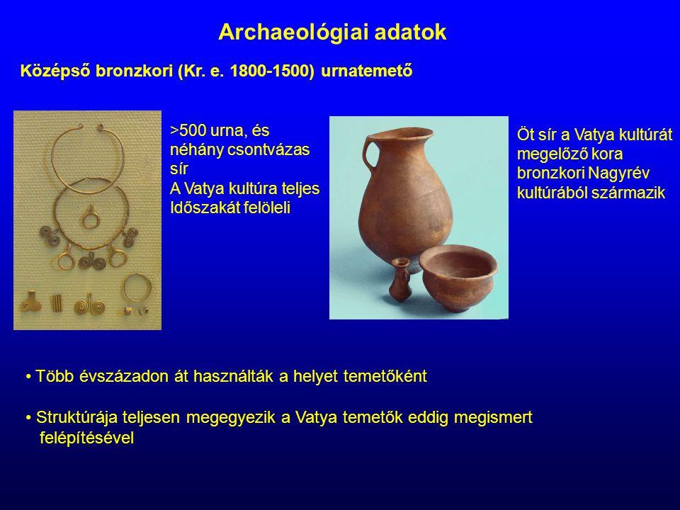 Archaeológiai adatok Középső bronzkori (Kr. e. 1800-1500) urnatemető >500 urna, és néhány csontvázas sír A Vatya kultúra teljes Időszakát felöleli Öt
