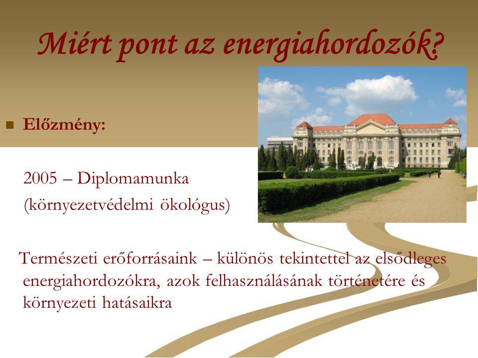 Miért pont az energiahordozók? Előzmény: 2005 – Diplomamunka (környezetvédelmi ökológus) Természeti erőforrásaink – különös tekintettel az elsődleges