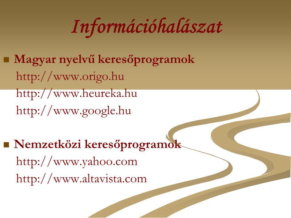 Információhalászat Magyar nyelvű keresőprogramok http://www.origo.hu http://www.heureka.hu http://www.google.hu Nemzetközi keresőprogramok http://www.yahoo.com http://www.altavista.com/