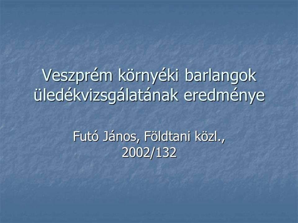 Veszprém környéki barlangok üledékvizsgálatának eredménye Futó János, Földtani közl., 2002/132