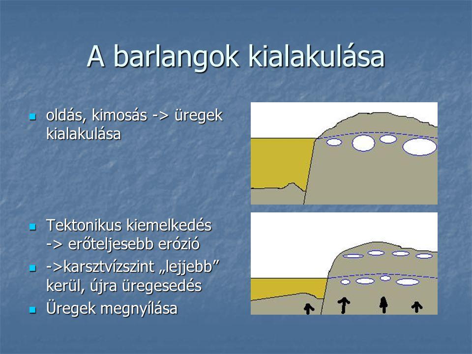 A barlangok kialakulása oldás, kimosás -> üregek kialakulása oldás, kimosás -> üregek kialakulása Tektonikus kiemelkedés -> erőteljesebb erózió Tekton