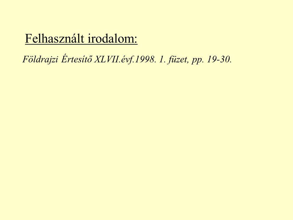 Felhasznált irodalom: Földrajzi Értesítő XLVII.évf.1998. 1. füzet, pp. 19-30.