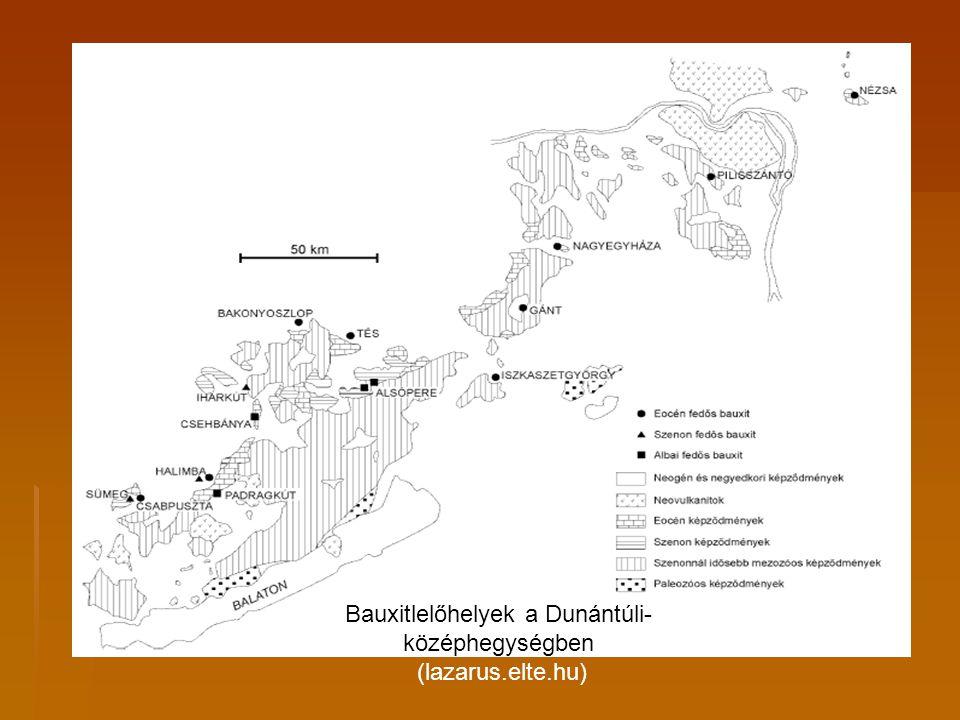 Bauxitlelőhelyek természeti viszonyai  A bauxit a kréta korban a triász fődolomitra települt a Dunántúli- középhegységben.