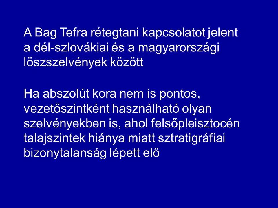 Ha abszolút kora nem is pontos, vezetőszintként használható olyan szelvényekben is, ahol felsőpleisztocén talajszintek hiánya miatt sztratigráfiai bizonytalanság lépett elő A Bag Tefra rétegtani kapcsolatot jelent a dél-szlovákiai és a magyarországi löszszelvények között