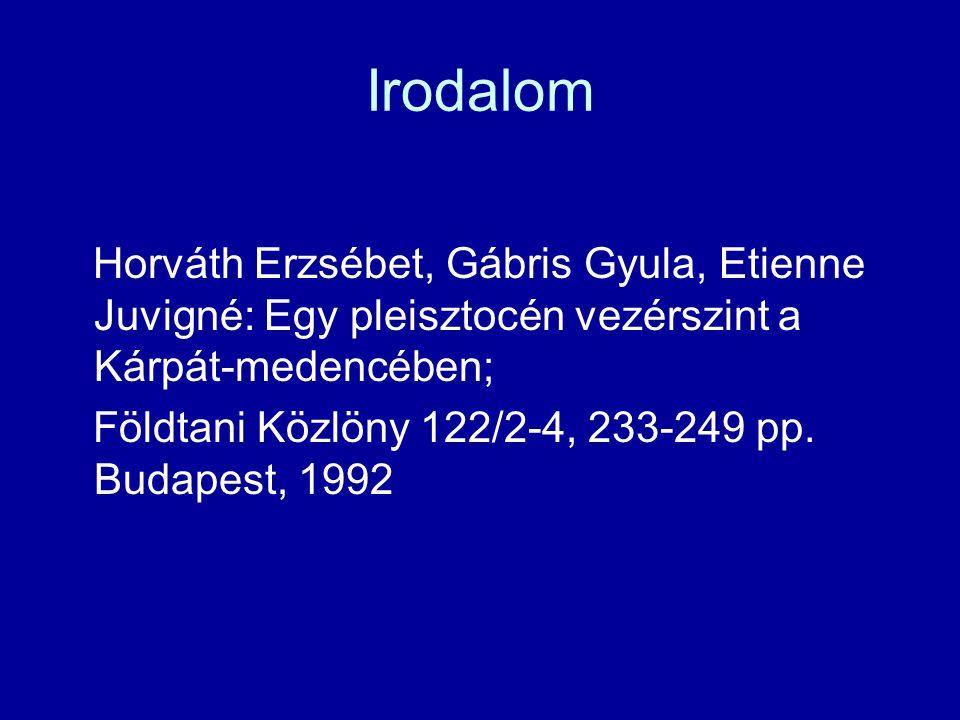 Irodalom Horváth Erzsébet, Gábris Gyula, Etienne Juvigné: Egy pleisztocén vezérszint a Kárpát-medencében; Földtani Közlöny 122/2-4, 233-249 pp.