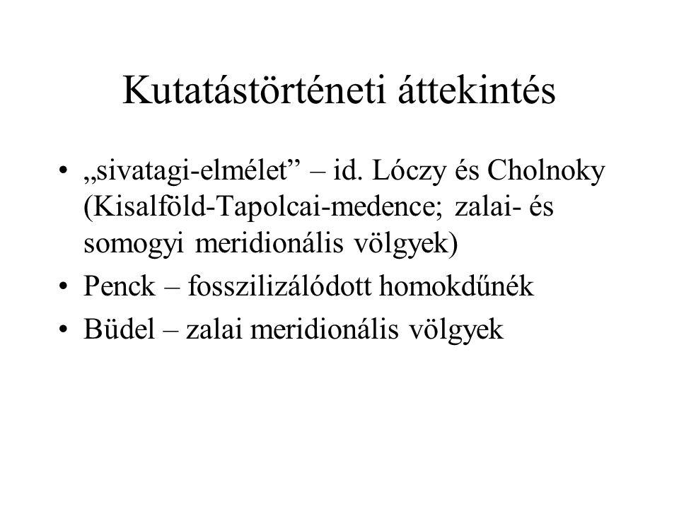 """Kutatástörténeti áttekintés """"sivatagi-elmélet"""" – id. Lóczy és Cholnoky (Kisalföld-Tapolcai-medence; zalai- és somogyi meridionális völgyek) Penck – fo"""