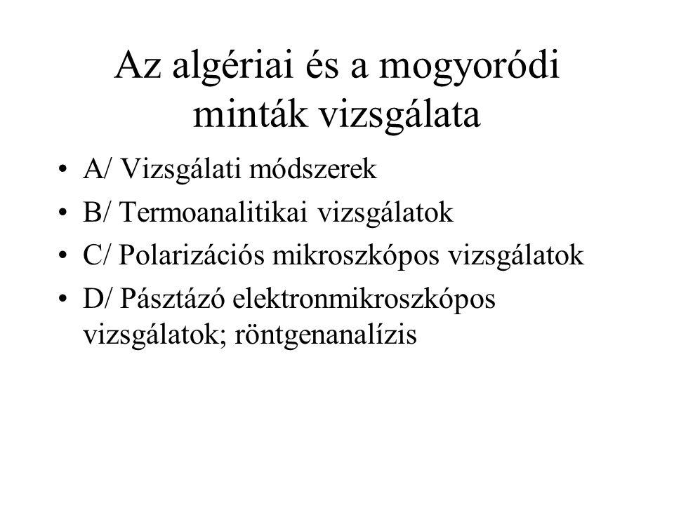 Az algériai és a mogyoródi minták vizsgálata A/ Vizsgálati módszerek B/ Termoanalitikai vizsgálatok C/ Polarizációs mikroszkópos vizsgálatok D/ Pásztázó elektronmikroszkópos vizsgálatok; röntgenanalízis