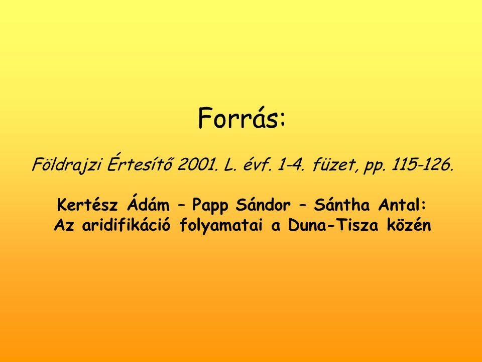 Forrás: Földrajzi Értesítő 2001.L. évf. 1-4. füzet, pp.