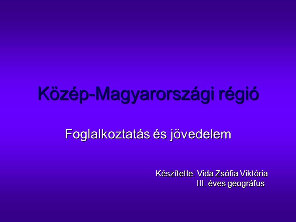 Közép-Magyarországi régió Foglalkoztatás és jövedelem Készítette: Vida Zsófia Viktória III. éves geográfus