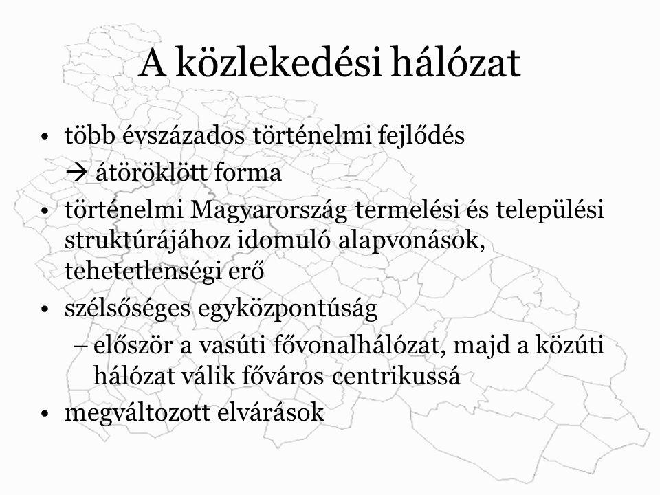 A közlekedési hálózat több évszázados történelmi fejlődés  átöröklött forma történelmi Magyarország termelési és települési struktúrájához idomuló alapvonások, tehetetlenségi erő szélsőséges egyközpontúság –először a vasúti fővonalhálózat, majd a közúti hálózat válik főváros centrikussá megváltozott elvárások