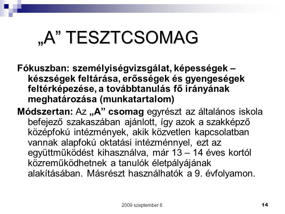 """2009 szeptember 8.14 """"A"""" TESZTCSOMAG Fókuszban: személyiségvizsgálat, képességek – készségek feltárása, erősségek és gyengeségek feltérképezése, a tov"""