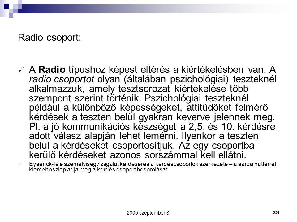 2009 szeptember 8.33 Radio csoport: A Radio típushoz képest eltérés a kiértékelésben van. A radio csoportot olyan (általában pszichológiai) teszteknél