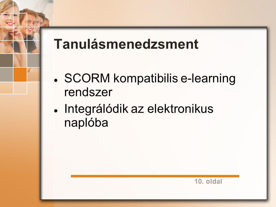 10. oldal Tanulásmenedzsment SCORM kompatibilis e-learning rendszer Integrálódik az elektronikus naplóba