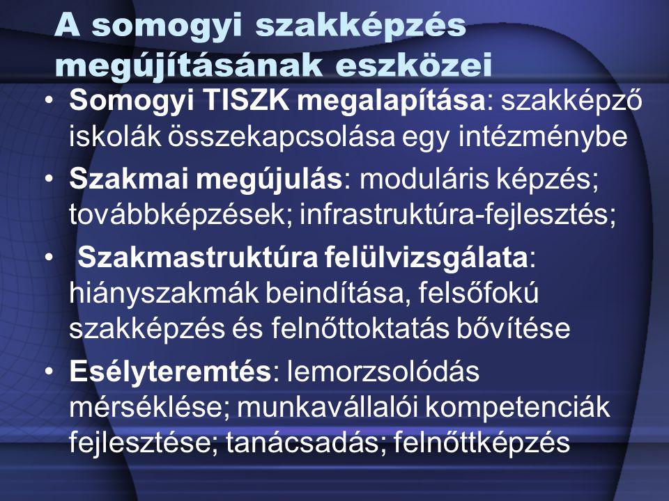 A somogyi szakképzés megújításának eszközei Somogyi TISZK megalapítása: szakképző iskolák összekapcsolása egy intézménybe Szakmai megújulás: moduláris