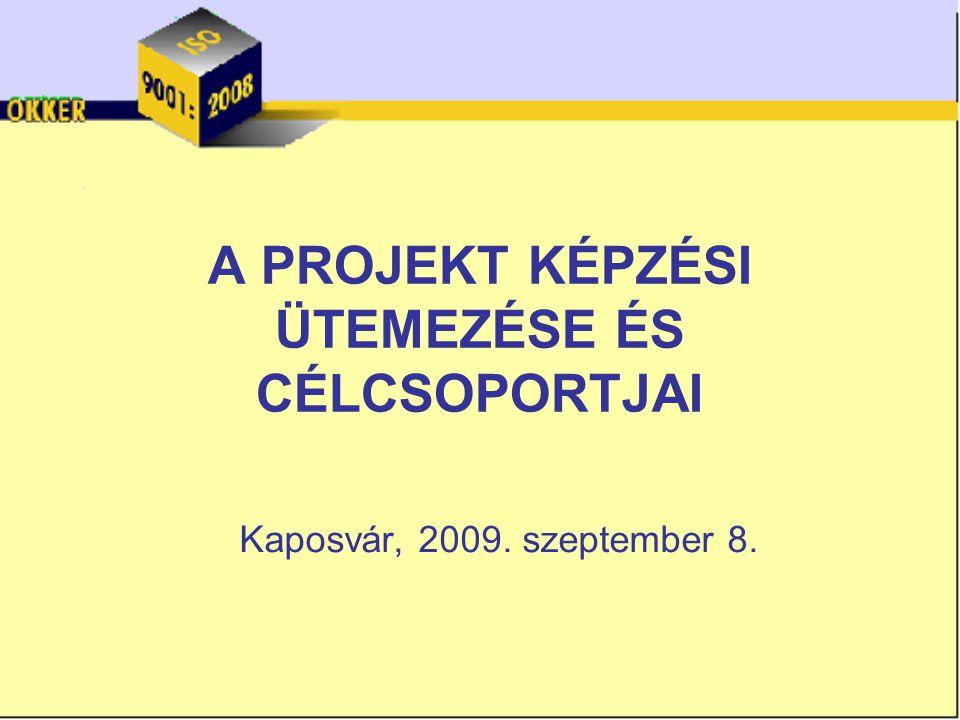 A PROJEKT KÉPZÉSI ÜTEMEZÉSE ÉS CÉLCSOPORTJAI Kaposvár, 2009. szeptember 8.