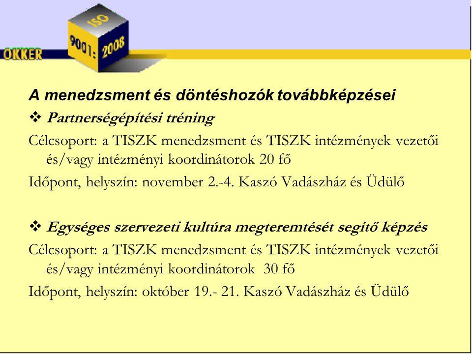 A menedzsment és döntéshozók továbbképzései  Partnerségépítési tréning Célcsoport: a TISZK menedzsment és TISZK intézmények vezetői és/vagy intézményi koordinátorok 20 fő Időpont, helyszín: november 2.-4.