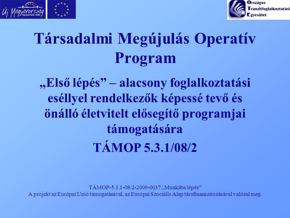 """TÁMOP-5.3.1-08/2-2009-0037 """"Munkába lépés"""" A projekt az Európai Unió támogatásával, az Európai Szociális Alap társfinanszírozásával valósul meg. Társa"""