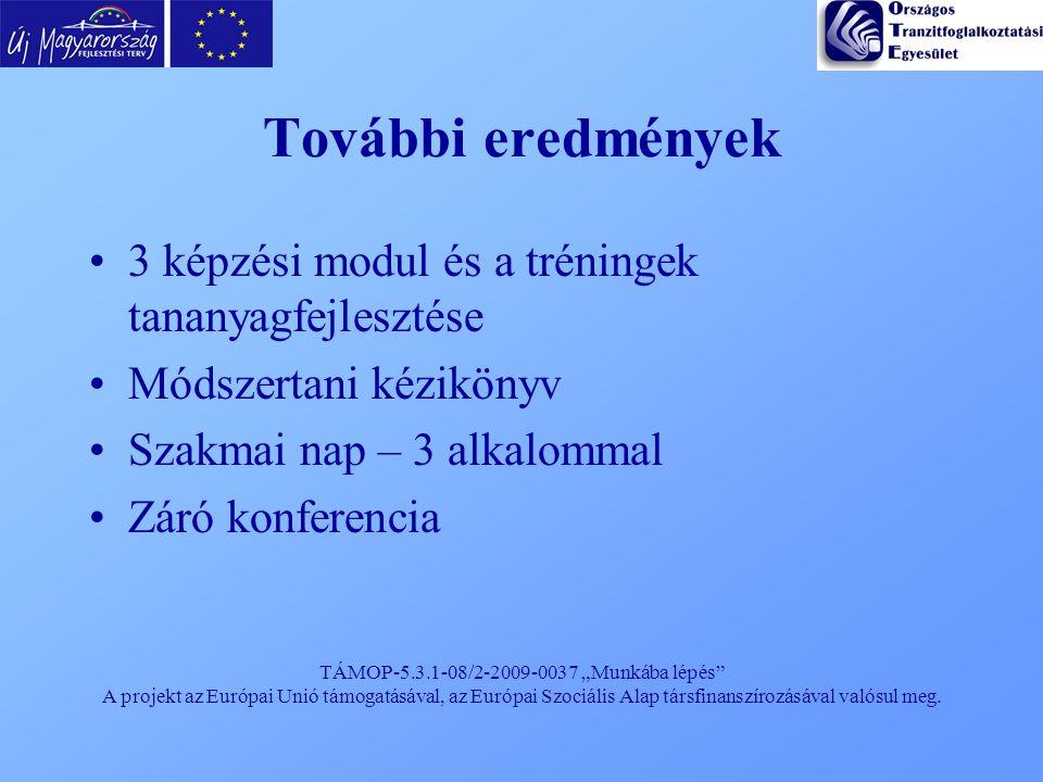 """TÁMOP-5.3.1-08/2-2009-0037 """"Munkába lépés"""" A projekt az Európai Unió támogatásával, az Európai Szociális Alap társfinanszírozásával valósul meg. Továb"""