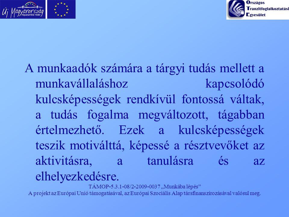 """TÁMOP-5.3.1-08/2-2009-0037 """"Munkába lépés"""" A projekt az Európai Unió támogatásával, az Európai Szociális Alap társfinanszírozásával valósul meg. A mun"""
