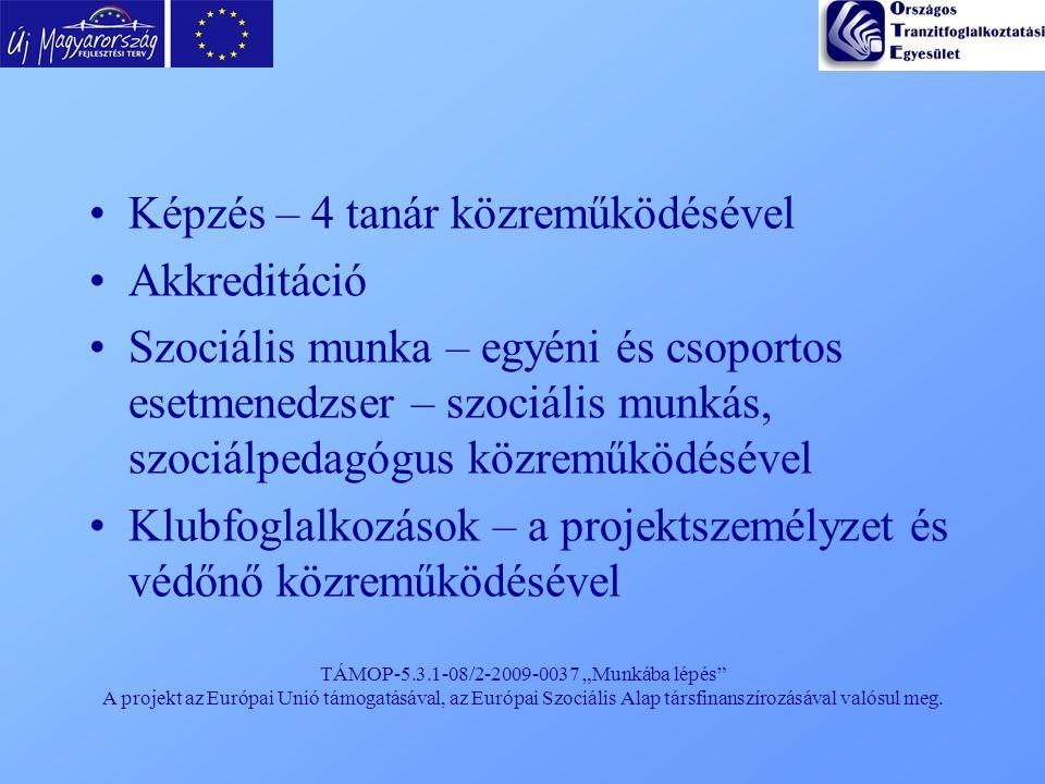 """TÁMOP-5.3.1-08/2-2009-0037 """"Munkába lépés"""" A projekt az Európai Unió támogatásával, az Európai Szociális Alap társfinanszírozásával valósul meg. Képzé"""
