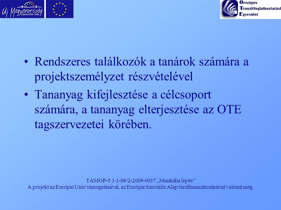 """TÁMOP-5.3.1-08/2-2009-0037 """"Munkába lépés"""" A projekt az Európai Unió támogatásával, az Európai Szociális Alap társfinanszírozásával valósul meg. Rends"""
