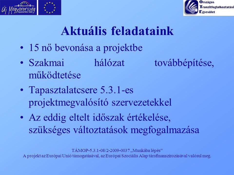 """TÁMOP-5.3.1-08/2-2009-0037 """"Munkába lépés"""" A projekt az Európai Unió támogatásával, az Európai Szociális Alap társfinanszírozásával valósul meg. Aktuá"""