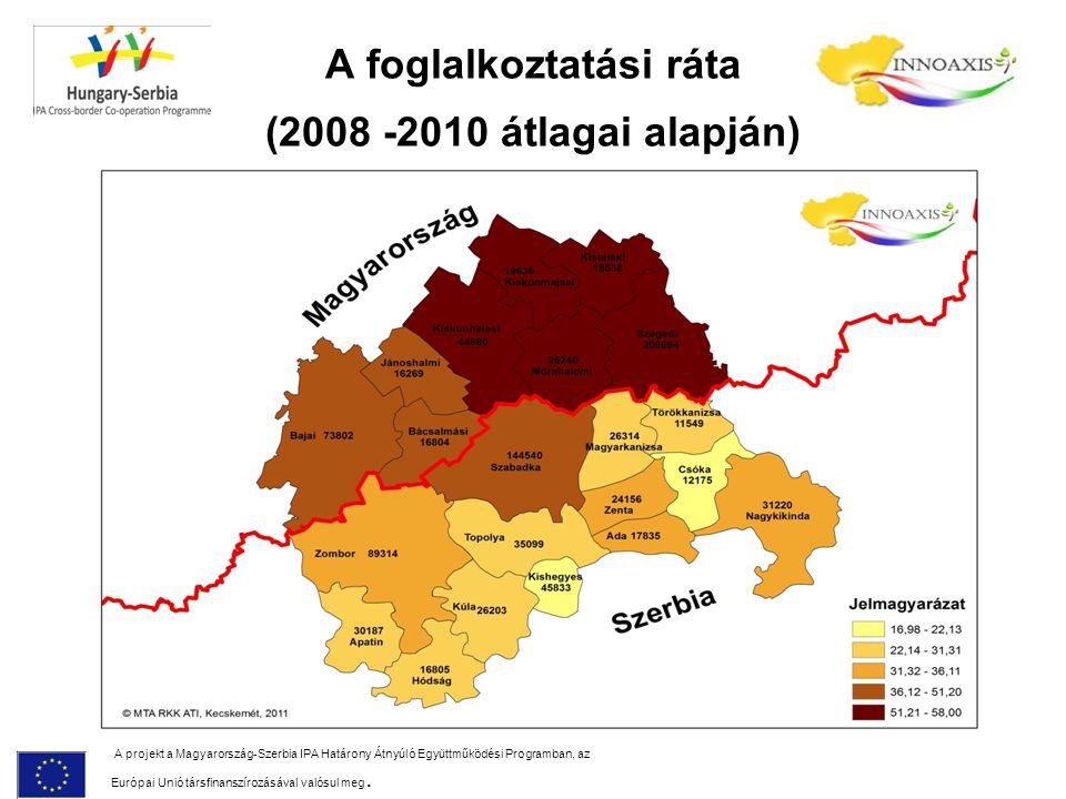 A foglalkoztatási ráta (2008 -2010 átlagai alapján) A projekt a Magyarország-Szerbia IPA Határony Átnyúló Együttműködési Programban, az Európai Unió t