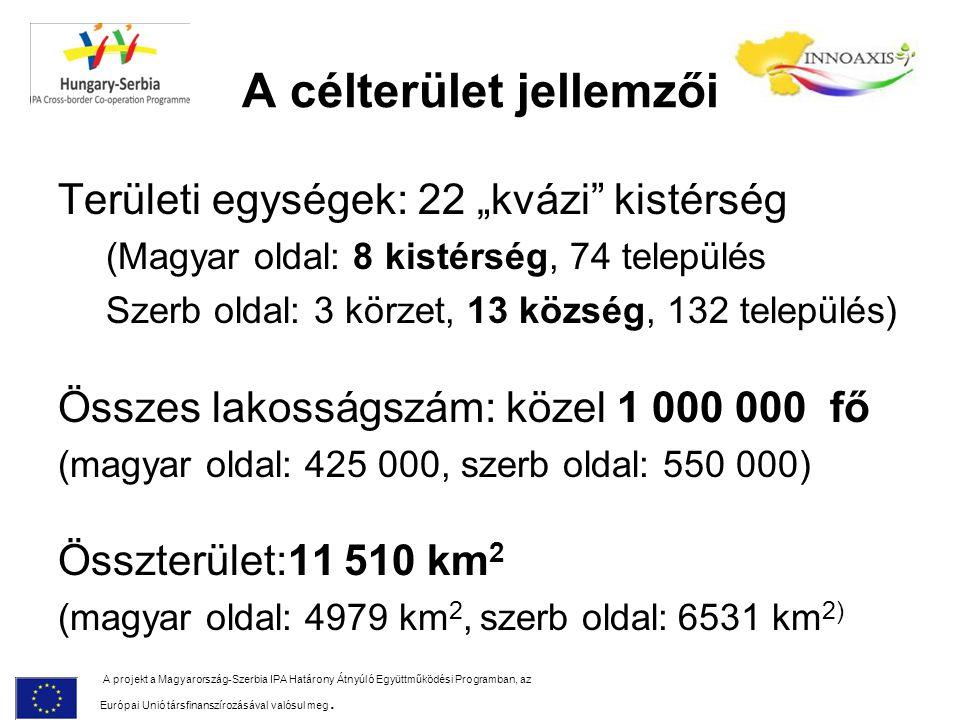 """A célterület jellemzői Területi egységek: 22 """"kvázi"""" kistérség (Magyar oldal: 8 kistérség, 74 település Szerb oldal: 3 körzet, 13 község, 132 települé"""