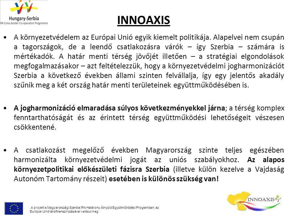 INNOAXIS Az érintett határ menti térség környezetvédelmi fejlesztései szempontjából legfontosabb EU irányelvek: Hulladék keretirányelv (75/442/EGK) A levegő minőségi keretirányelv (96/62/EK) A hulladéklerakókról szóló irányelv (99/31/EK) Víz keretirányelv (280/2004/EK) A környezeti zajról szóló irányelv (2002/49/EC) Az integrált szennyezés-megelőzés és ellenőrzés irányelv – IPPC direktíva (96/61/EEC) A környezeti hatásvizsgálatról szóló irányelv (97/11/EC) A környezeti információhoz jutás szabadságáról szóló irányelv (90/313/EGK) Élőhely direktíva (92/43/EEC).