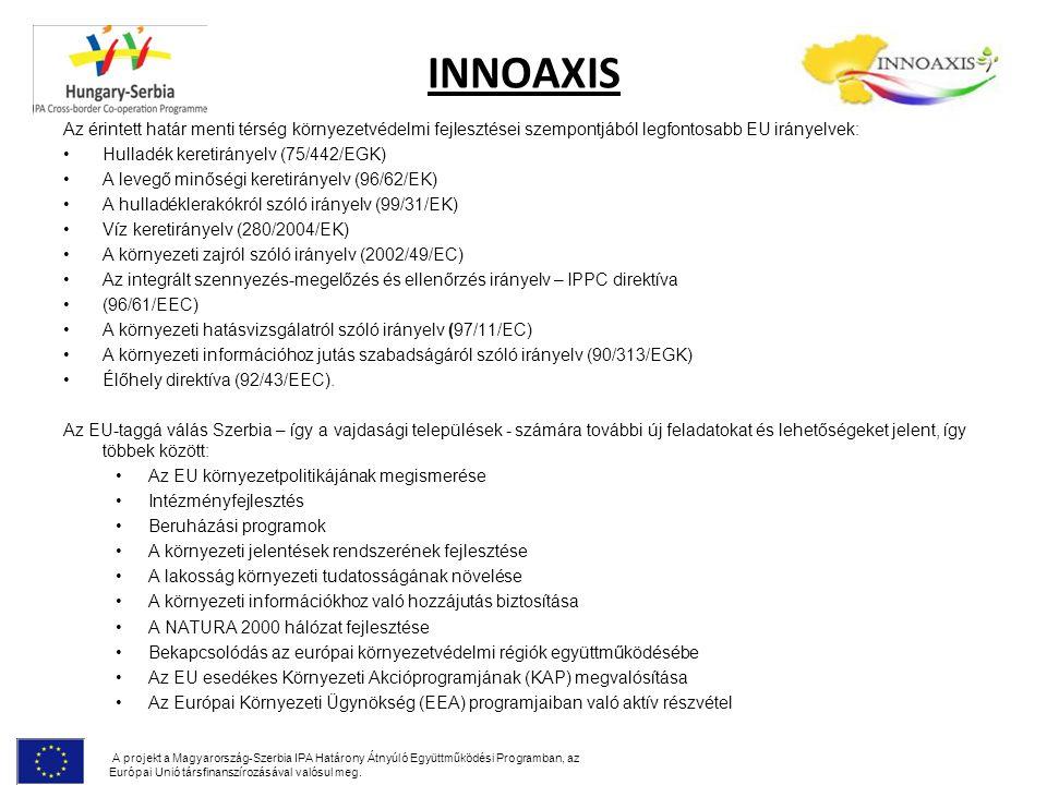 INNOAXIS Az érintett határ menti térség környezetvédelmi fejlesztései szempontjából legfontosabb EU irányelvek: Hulladék keretirányelv (75/442/EGK) A
