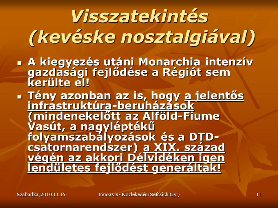 Szabadka, 2010.11.16.Innoaxis - Közlekedés (Sefcsich Gy.)11 Visszatekintés (kevéske nosztalgiával) A kiegyezés utáni Monarchia intenzív gazdasági fejlődése a Régiót sem kerülte el.