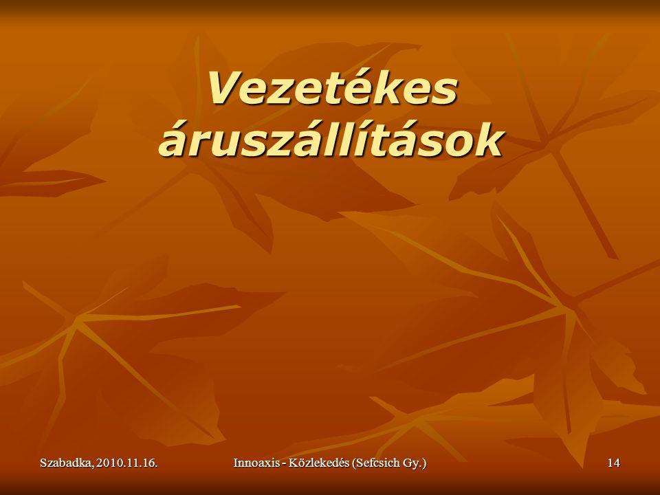 Szabadka, 2010.11.16.Innoaxis - Közlekedés (Sefcsich Gy.)14 Vezetékes áruszállítások