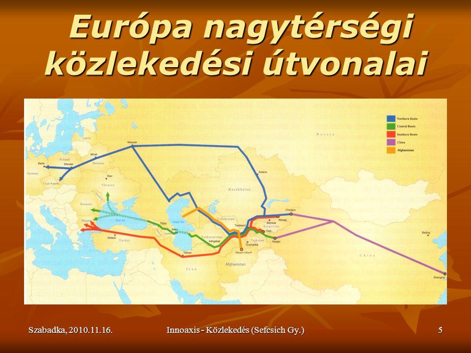 Szabadka, 2010.11.16.Innoaxis - Közlekedés (Sefcsich Gy.)5 Európa nagytérségi közlekedési útvonalai Európa nagytérségi közlekedési útvonalai