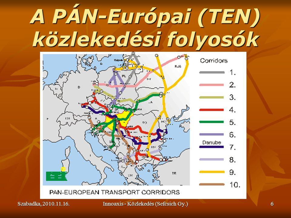 Szabadka, 2010.11.16.Innoaxis - Közlekedés (Sefcsich Gy.)6 A PÁN-Európai (TEN) közlekedési folyosók