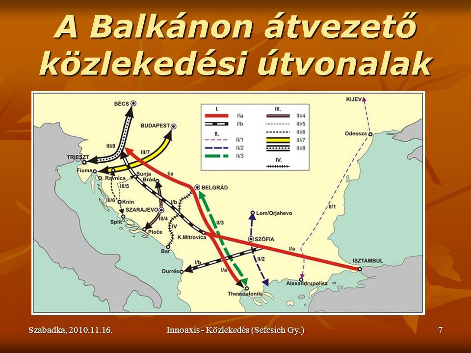 Szabadka, 2010.11.16.Innoaxis - Közlekedés (Sefcsich Gy.)8 A közlekedés és áruszállítás jelenlegi szerkezeti megoszlása és buktatói