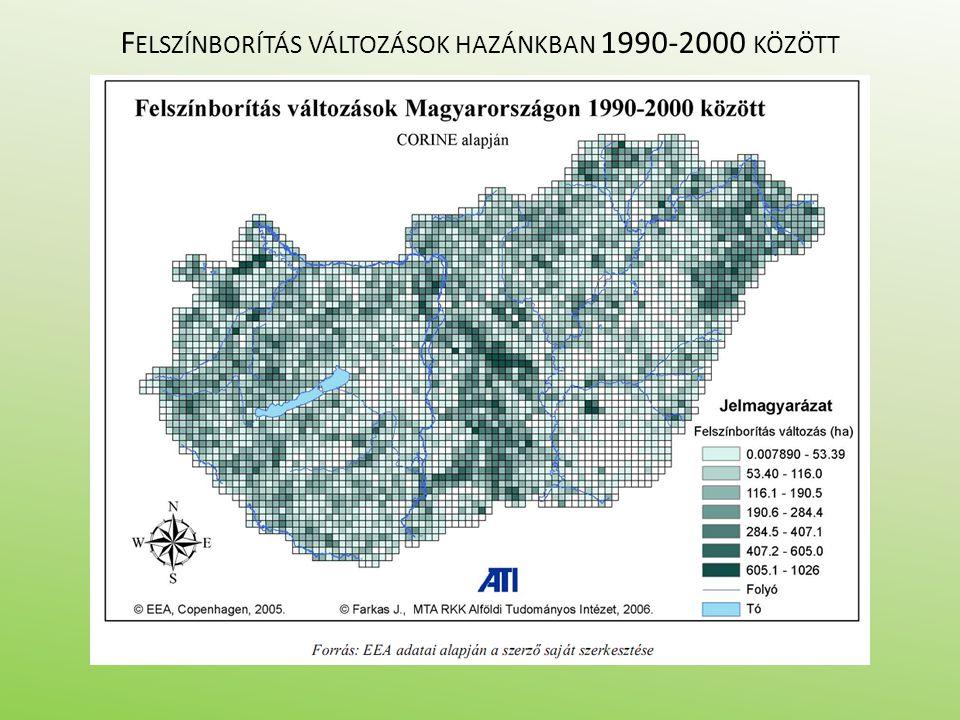 F ELSZÍNBORÍTÁS VÁLTOZÁSOK HAZÁNKBAN 1990-2000 KÖZÖTT