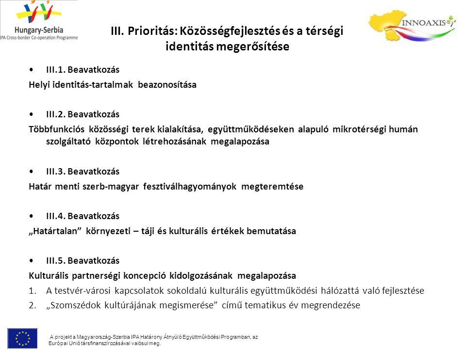 III. Prioritás: Közösségfejlesztés és a térségi identitás megerősítése III.1.