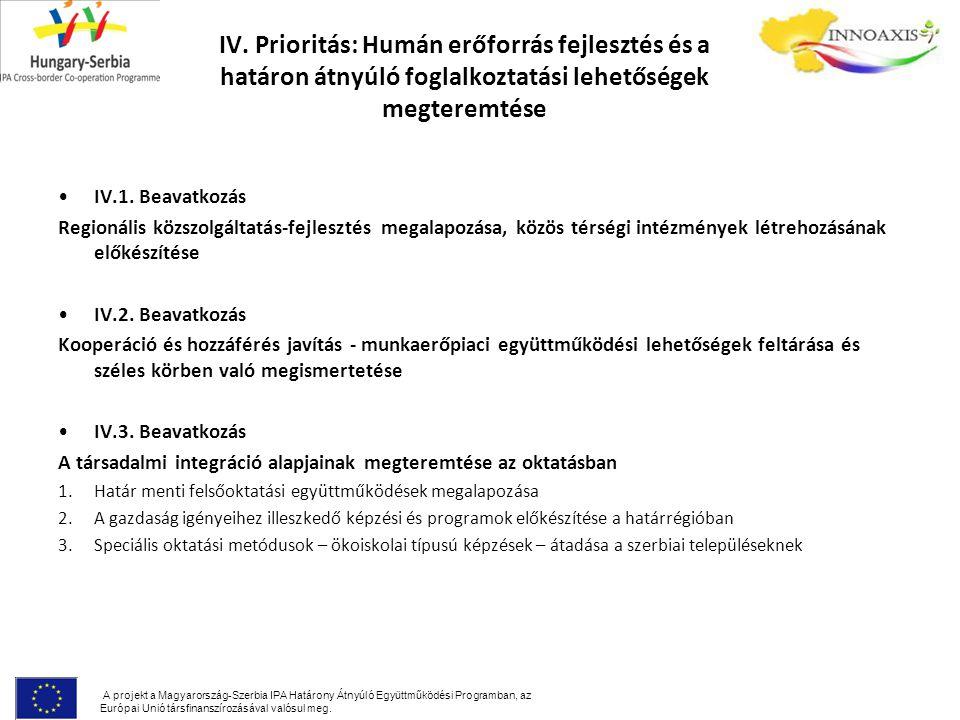 IV. Prioritás: Humán erőforrás fejlesztés és a határon átnyúló foglalkoztatási lehetőségek megteremtése IV.1. Beavatkozás Regionális közszolgáltatás-f