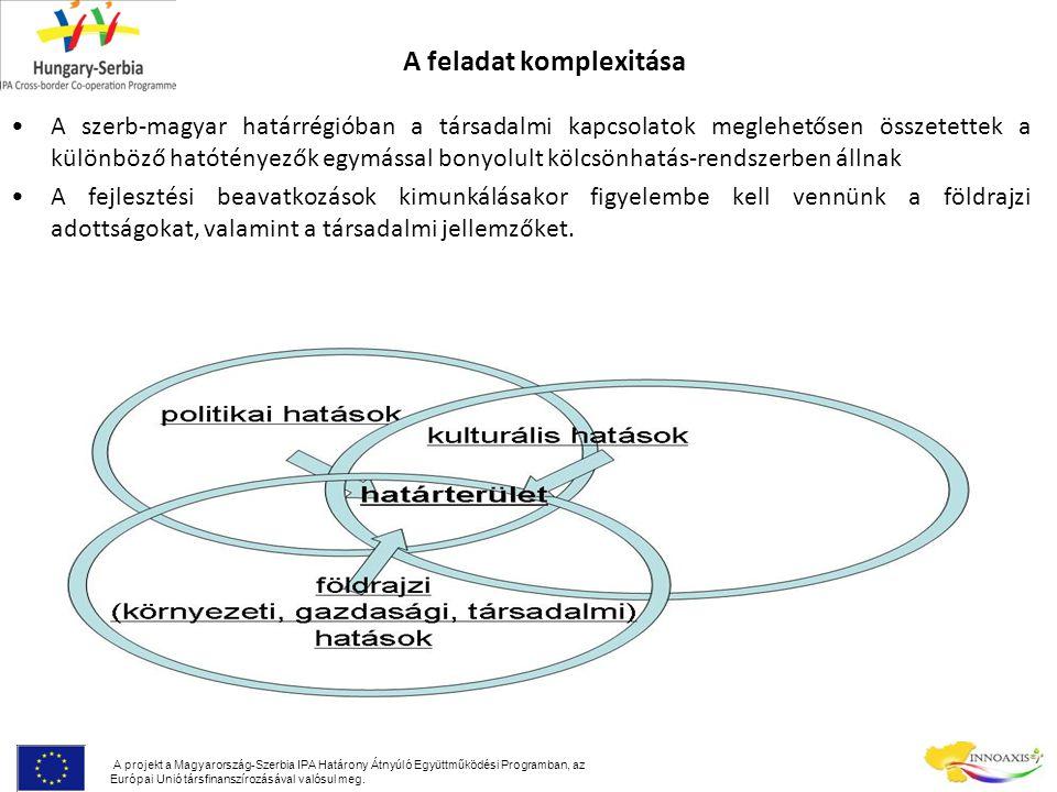 A feladat komplexitása A szerb-magyar határrégióban a társadalmi kapcsolatok meglehetősen összetettek a különböző hatótényezők egymással bonyolult kölcsönhatás-rendszerben állnak A fejlesztési beavatkozások kimunkálásakor figyelembe kell vennünk a földrajzi adottságokat, valamint a társadalmi jellemzőket.