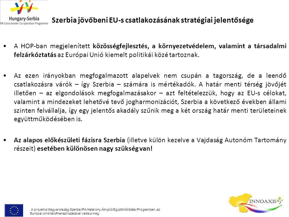 Szerbia jövőbeni EU-s csatlakozásának stratégiai jelentősége A HOP-ban megjelenített közösségfejlesztés, a környezetvédelem, valamint a társadalmi felzárkóztatás az Európai Unió kiemelt politikái közé tartoznak.