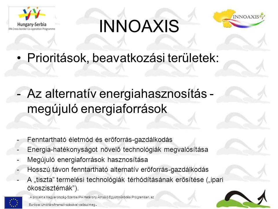 INNOAXIS A projekt a Magyarország-Szerbia IPA Határony Átnyúló Együttműködési Programban, az Európai Unió társfinanszírozásával valósul meg.