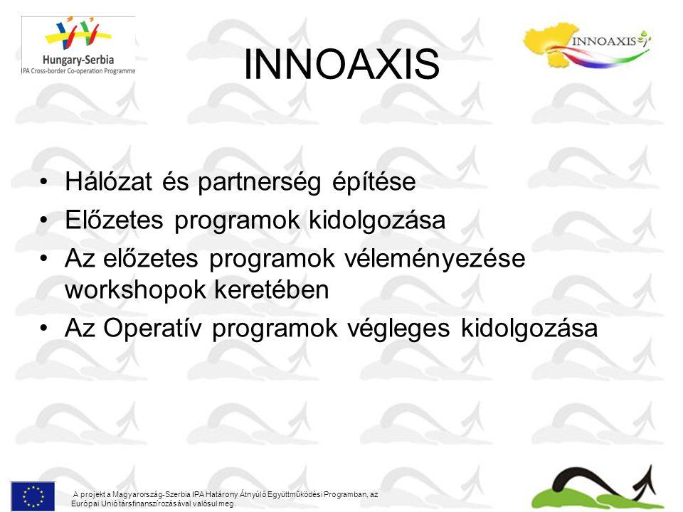 INNOAXIS Gazdasági Operatív Program Kiindulópontok, stratégiai keretek Helyzetelemzés Stratégiai célok Javasolt prioritások és beavatkozások A program várható eredményei Intézményi és forráslehetőségek A projekt a Magyarország-Szerbia IPA Határony Átnyúló Együttműködési Programban, az Európai Unió társfinanszírozásával valósul meg.